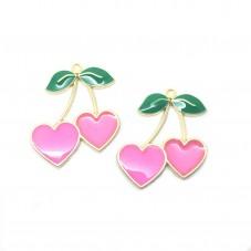 2 Breloques Fruit Cerises Coeur Émail Rose Métal Doré 28x33mm pour la Création de Bijoux Fantaisie - DIY