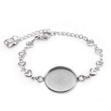 Support Bracelet Argenté Coeurs en Acier inoxydable pour Cabochon 20mm pour la Création de Bijoux Fantaisie - DIY