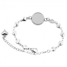 Support Bracelet Argenté Coeurs en Acier inoxydable pour Cabochon 12mm pour la Création de Bijoux Fantaisie - DIY
