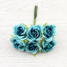 6 Tiges de Fleur Rose Bleue 2-3cm