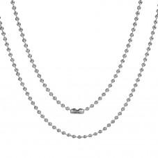 Collier Chaine à Billes en Acier Inoxydable Argenté 2mm pour la Création de Bijoux Fantaisie - DIY