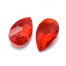 2 Breloques Goutte en Verre Rouge 23mm pour la Création de Bijoux Fantaisie - DIY