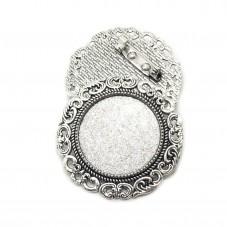 Support Broche Argenté pour Cabochon 25mm pour la Création de Bijoux Fantaisie - DIY