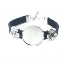 Support Bracelet Argenté  pour Cabochon 25mm pour la Création de Bijoux Fantaisie - DIY