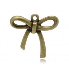 3 Breloques Noeud Rosette Bronze 24x25mm pour la Création de Bijoux Fantaisie - DIY