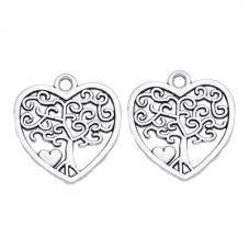 4 Breloques Coeur Arbre Argenté 18x17mm pour la Création de Bijoux Fantaisie - DIY