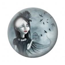 Cabochon en Verre Illustré Fille Chauve-souris Gothique 12 à 25mm pour la Création de Bijoux Fantaisie - DIY