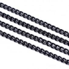 1 Mètre de Chaine à Maille Noire 3x2mm pour la Création de Bijoux Fantaisie - DIY