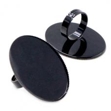 Support Bague Ajustable Noir pour Cabochon 30x40mm pour la Création de Bijoux Fantaisie - DIY