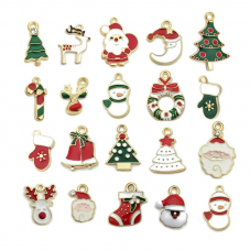 20 Breloques Noël en Émail Métal Doré pour la création de Bijoux fantaisie - DIY