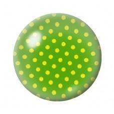 Cabochon en Verre Illustré Vert à Pois Jaune 12 à 25mm pour la Création de Bijoux Fantaisie - DIY