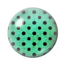 Cabochon en Verre Illustré Vert à Pois Noir 12 à 25mm pour la Création de Bijoux Fantaisie - DIY
