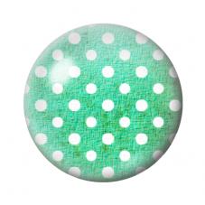 Cabochon en Verre Illustré Vert à Pois Blanc 12 à 25mm pour la Création de Bijoux Fantaisie - DIY