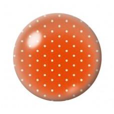 Cabochon en Verre Illustré Orange à Pois Blanc 12 à 25mm pour la Création de Bijoux Fantaisie - DIY