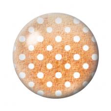 Cabochon en Verre Illustré Marron à Pois Blanc 12 à 25mm pour la Création de Bijoux Fantaisie - DIY