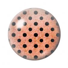 Cabochon en Verre Illustré Marron à Pois Noir 12 à 25mm pour la Création de Bijoux Fantaisie - DIY