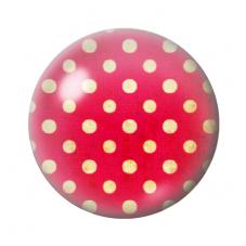 Cabochon en Verre Illustré Rouge à Pois Jaune 12 à 25mm pour la Création de Bijoux Fantaisie - DIY