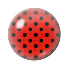 Cabochon en Verre Illustré Rouge à Pois Noir 12 à 25mm pour la Création de Bijoux Fantaisie - DIY