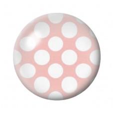 Cabochon en Verre Illustré Rose à Pois Blanc 12 à 25mm pour la Création de Bijoux Fantaisie - DIY