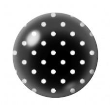 Cabochon en Verre Illustré Noir à Pois Blanc 12 à 25mm pour la Création de Bijoux Fantaisie - DIY