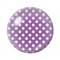 Cabochon en Verre Illustré Violet à Pois Blanc 12 à 25mm pour la Création de Bijoux Fantaisie - DIY