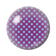 Cabochon en Verre Illustré Violet à Pois Bleu 12 à 25mm pour la Création de Bijoux Fantaisie - DIY