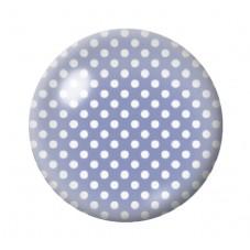 Cabochon en Verre Illustré Bleu à Pois Blanc 12 à 25mm pour la Création de Bijoux Fantaisie - DIY