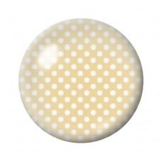 Cabochon en Verre Illustré Beige à Pois Blanc 12 à 25mm pour la Création de Bijoux Fantaisie - DIY