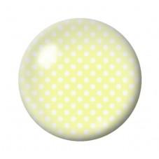 Cabochon en Verre Illustré Jaune Fluo à Pois Blanc 12 à 25mm pour la Création de Bijoux Fantaisie - DIY