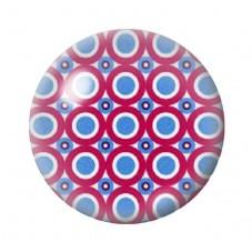 Cabochon en Verre Illustré Rouge Foncé à Pois Bleu 12 à 25mm pour la Création de Bijoux Fantaisie - DIY