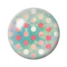 Cabochon en Verre Illustré Vert à Pois Rose 12 à 25mm pour la Création de Bijoux Fantaisie - DIY