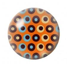 Cabochon en Verre Illustré Orange à Pois Multicolore 12 à 25mm pour la Création de Bijoux Fantaisie - DIY