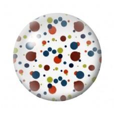 Cabochon en Verre Illustré Blanc à Pois Multicolore 12 à 25mm pour la Création de Bijoux Fantaisie - DIY
