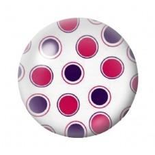 Cabochon en Verre Illustré Blanc à Pois Rose et Violet 12 à 25mm pour la Création de Bijoux Fantaisie - DIY