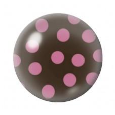 Cabochon en Verre Illustré Chocolat à Pois Rose 12 à 25mm pour la Création de Bijoux Fantaisie - DIY