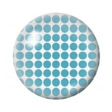 Cabochon en Verre Illustré Blanc à Pois Bleu 12 à 25mm pour la Création de Bijoux Fantaisie - DIY