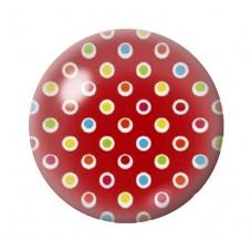 Cabochon en Verre Illustré Rouge à Pois Multicolore 12 à 25mm pour la Création de Bijoux Fantaisie - DIY