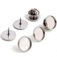 Support Pin's en Acier Inoxydable pour Cabochon 12mm pour la Création de Bijoux Fantaisie - DIY