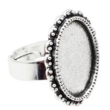Support Bague Ajustable Argenté pour Cabochon 13x18mm pour la Création de Bijoux Fantaisie - DIY