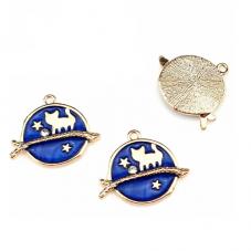 2 Breloques Chat Branche Étoile Émail Bleu Métal Doré Strass 26x22mm  pour la Création de Bijoux Fantaisie - DIY