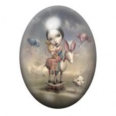 Cabochon en Verre Illustré Petite Fille Princesse Jouets Étrange 13x18, 18x25 ou 30x40mm pour la Création de Bijoux Fantaisie -