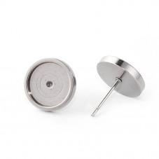 1 Paire de Support Boucle d'Oreille Puce en Acier inoxydable pour Cabochon  10mm pour la Création de Bijoux Fantaisie - DIY