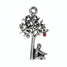4 Breloques Arbre Argenté Pomme en Émail Rouge 25x14mm pour la Création de Bijoux Fantaisie - DIY