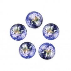 2 Cabochons en Verre Planète Terre 12mm pour la Création de Bijoux Fantaisie - DIY