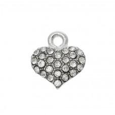 2 Breloques en Métal Argenté Coeur Strass 13x12mm pour la Création de Bijoux Fantaisie - DIY