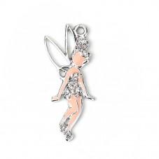 Breloque en Métal Argenté Fée Strass 37x17mm pour la Création de Bijoux Fantaisie - DIY