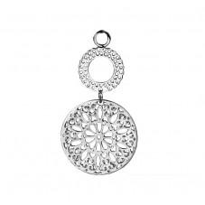 2 Breloques Pendentif Mandala Ajouré Argenté 5,6x3cm pour la Création de Bijoux Fantaisie - DIY