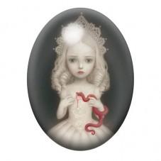 Cabochon en Verre Illustré Fille Serpent Étrange 13x18, 18x25 ou 30x40mm pour la Création de Bijoux Fantaisie - DIY