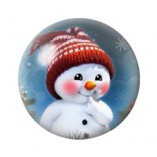 Cabochon en Verre Illustré Bonhomme de Neige Noël 12 à 25mm pour la Création de Bijoux Fantaisie - DIY