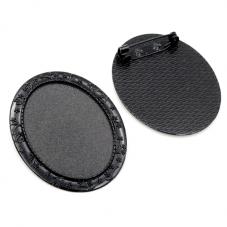 Support Broche Noir pour Cabochon 30x40mm pour la Création de Bijoux Fantaisie - DIY